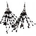 Black Floating Bead Cluster Multi Strand Cascade Hook Drop Earrings