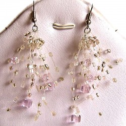 Handcrafted Costume Jewellery, Fashion Women Girls Gift, Pink Floating Bead Cluster Multi Strand Cascade Hook Drop Earrings