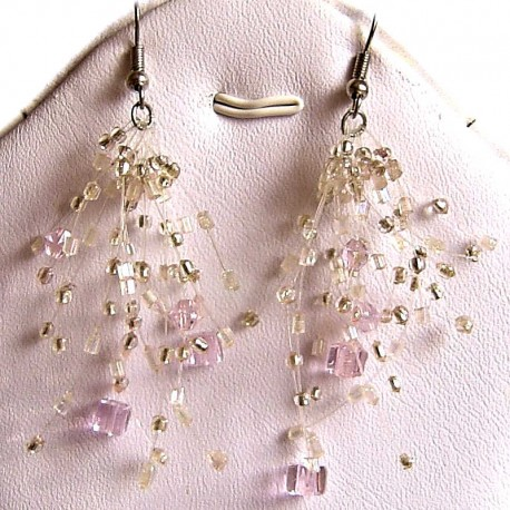 Handcrafted Costume Jewellery, Fashion Women Girls Gift, Pink Floating Bead Cluster Multi Strand Cascade Hook Drop Earrings