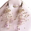 Pink Floating Bead Cluster Multi Strand Cascade Hook Drop Earrings