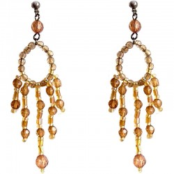Brown Bead Chandelier Long Drop Earrings