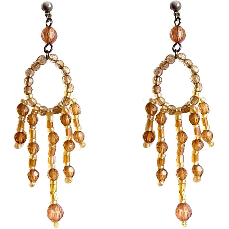 Brown Bead Chandelier Long Drop Earrings