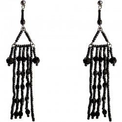 Black Bead Chandelier Long Drop Earrings