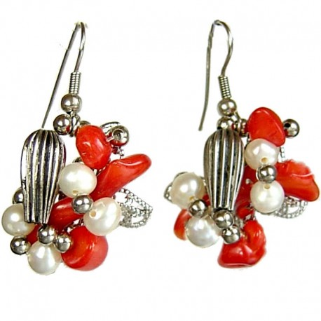 Handcrafted Natural Stone Beaded Costume Jewellery Accessories, Fashion Women Gift, Red Coral Twist Drop Earrings
