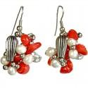 Red Coral Twist Drop Earrings