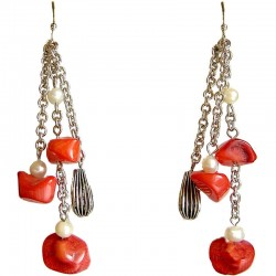 Handcrafted Natural Stone Beaded Costume Jewellery Accessories, Fashion Women Gift, Red Coral Long Drop Earrings