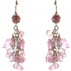 Handmade Stone Beaded Costume Jewellery Accessories, Fashion Women Gift, Flourite Tumblechip Lilac Bead Cluster Drop Earrings