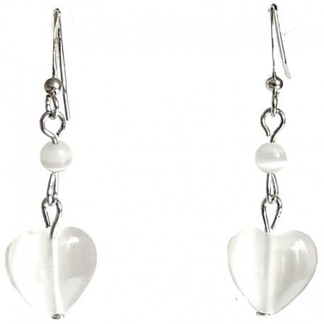 Handcrafted Dangle Costume Jewellery Accessories, Fashion Women Girls Cute Small White Cats Eye Stone Heart Dainty Drop Earrings