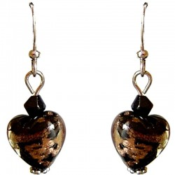 Fashion Women Girls Beaded Costume Jewellery Accessories, Cute Small Black Murano Glass Heart Bead Dainty Drop Earrings