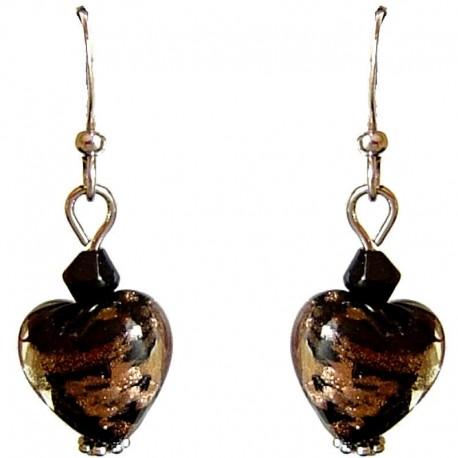 Fashion Women Girls Beaded Costume Jewellery Accessories, Cute Small Black Murano Glass Heart Bead Dainty Drop Earrings