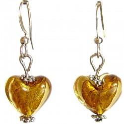 Fashion Women Girls Beaded Costume Jewellery Accessories, Cute Small Brown Murano Glass Heart Bead Dainty Drop Earrings