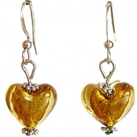 Fashion Women Girls Beaded Costume Jewellery Accessories, Cute Small Brown Murano Glass Heart Bead Dainty Drop Earrings