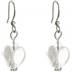 Fashion Women Girls Beaded Costume Jewellery Accessories, White Small Murano Glass Heart Bead Dainty Drop Earrings