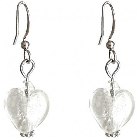 Fashion Women Girls Beaded Costume Jewellery Accessories, White Small Murano Glass Heart Bead Dainty Drop Earrings