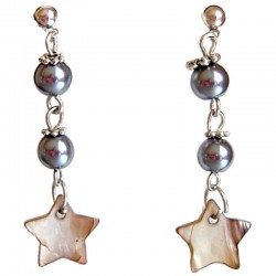 Brown MOP Star Grey Pearl Drop Earrings