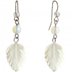 White Mother of Pearl MOP Leaf Drop Earrings