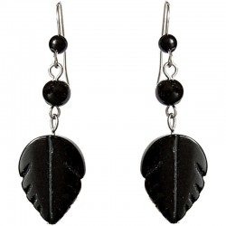 Natural Stone Costume Jewellery Dangle Earrings, Fashion Women Girls Accessories, Black Agate Leaf Drop Earrings