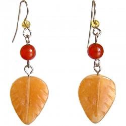 Natural Stone Costume Jewellery Dangle Earrings, Fashion Women Girls Accessories, Brown Agate Leaf Drop Earrings