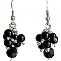 Natural Stone Costume Jewellery Dangle Earrings, Fashion Women Girls Accessories, Black Agate Bead Drop Earrings