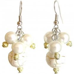 Classic Costume Jewellery Accessories, Fashion Women Girls Small Gift, White Gold Line Bead & White Pearl Dangle Earrings