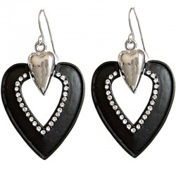 Chic Costume Jewellery, Fashion Women Accessories Small Gift, Black Heart Clear Diamante Drop Earrings