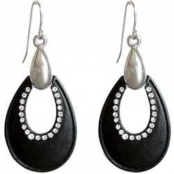 Black Teardrop Clear Diamante Drop Earrings