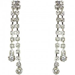 Dressy Costume Jewellery, Fashion Women Wedding Party Dress Accessories, Clear Diamante Double Linear Drop Earrings