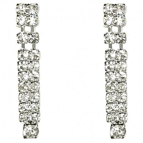 Simple Classic Costume Jewellery, Fashion Women Wedding Party Dress Accessories, Clear Diamante Short Linear Drop Earrings