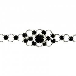 Black Diamante Flower Pattern Fashion Bracelet