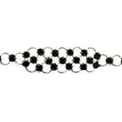 Black Diamante Strap Pattern Fashion Bracelet