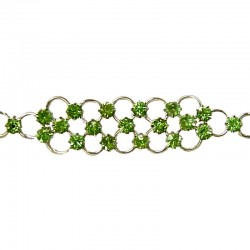 Simple Costume Jewellery Bracelets Accessories, Women Girls Dainty Gift, Green Diamante Strap Pattern Fashion Bracelet