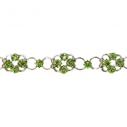 Simple Costume Jewellery Bracelets Accessories, Women Girls Dainty Gift, Green Diamante Lucky Flower Fashion Bracelet