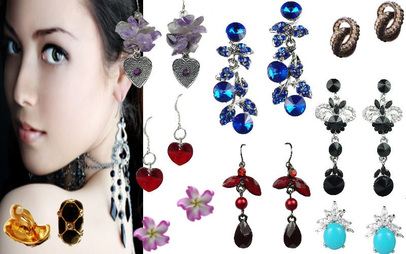 Fashion Women Costume Drop Earrings, Magnet clip on & Earring Studs in bead, pearl, diamante, rhienstone, crystal CZ